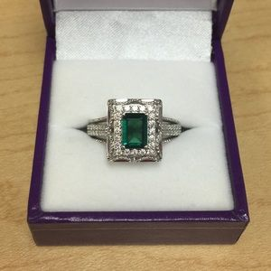 Jewelry - Art Decco Emerald and Moissanites Ring